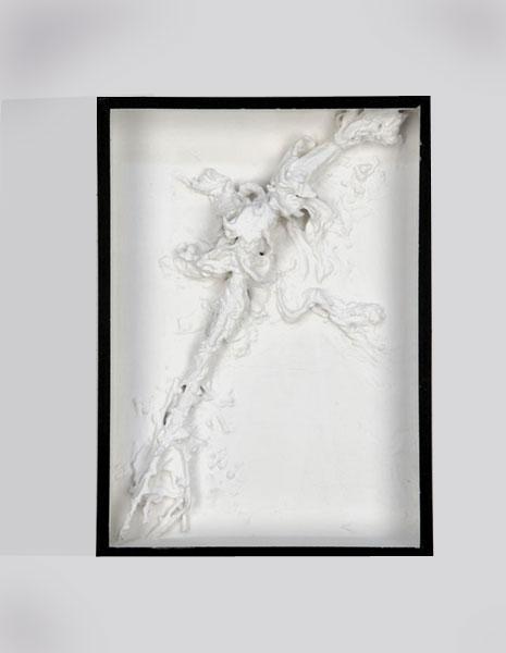 Salade montée, boîte d'entomologiste, peinture et cire d'abeille<br />25 x 38 x 5 cm<br />Collection Musée d'Art Moderne de Saint Etienne Métropole